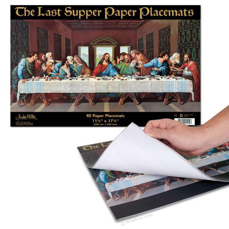 Image of a tablet of placemat printed with Leonardo da Vinci's The Last Supper.