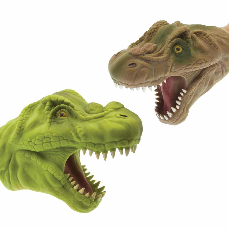 Two dinosaur hand puppets, one green the other brown