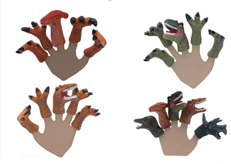 Dinosaur puppet fingers set made of rubber