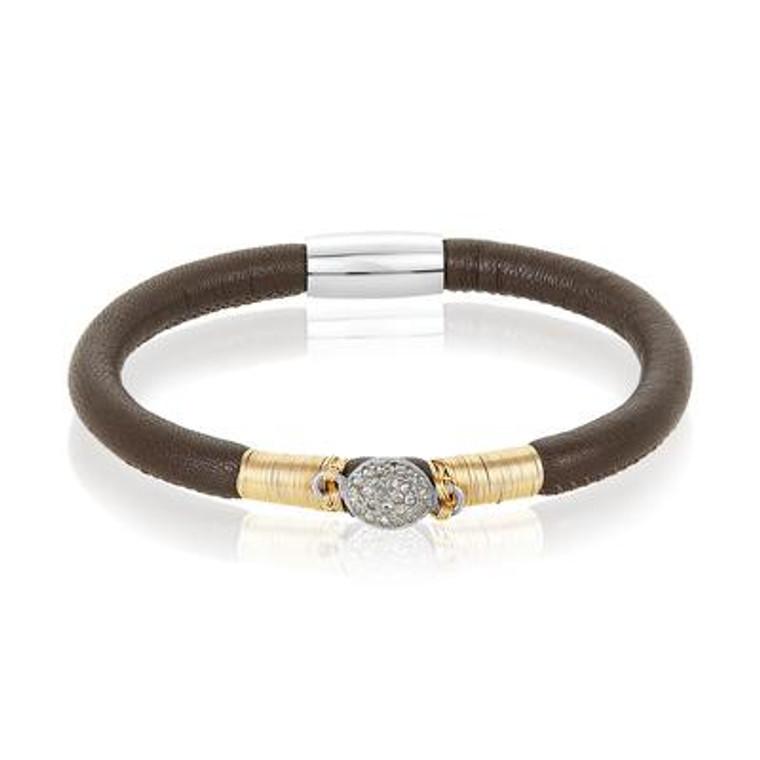 Brown Leather Bracelet with Pavé Diamond Charm