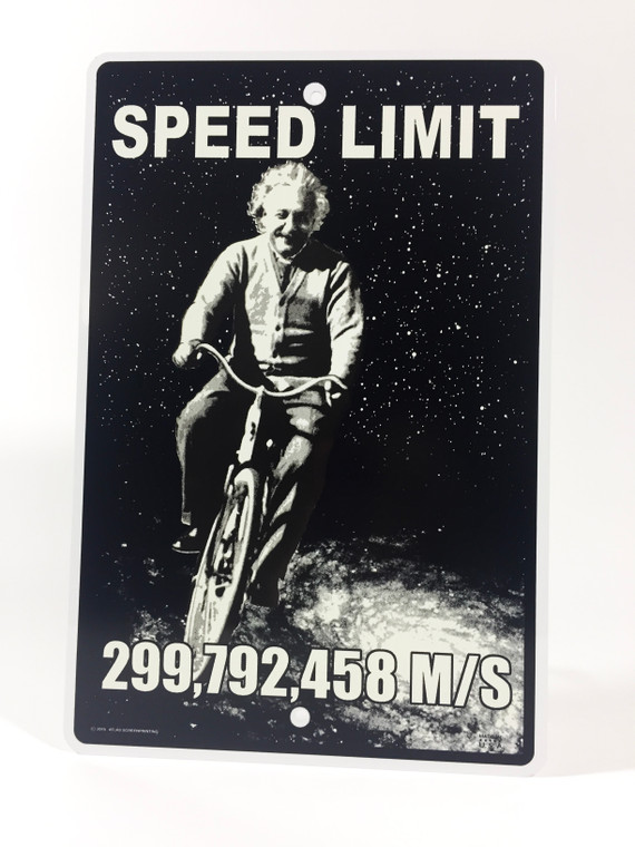 This image has a photo of Einstein on a bicycle.  The background is black dotted with stars and a galaxy.  The top of the metal sign has the words speed limit.  The top of the sign has the numbers 299,792,455 m/s.