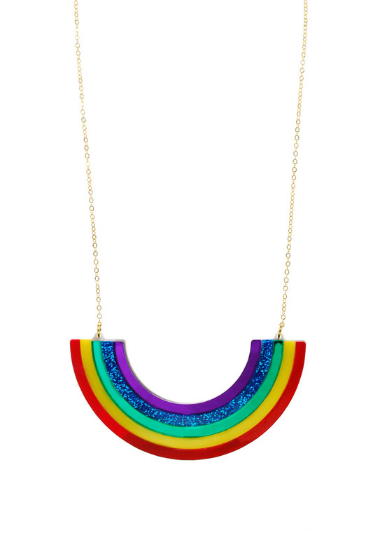 Image of a bright, glittery, upside down rainbow necklace on a thin gold chain.