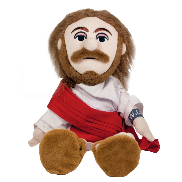 Image of a plush little Jesus with long hair, a mustache, sandals and a black and red robe.
