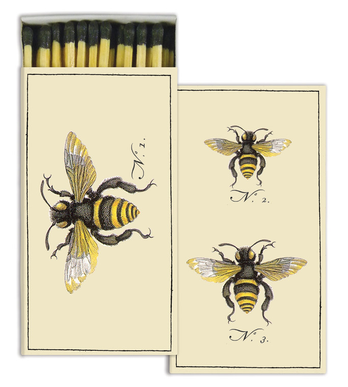 Bee match box, featuring a single honey bee on one side and two honey bees on the other.