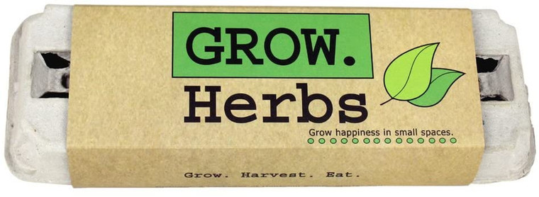 Herbs egg carton kit.  Egg Carton Includes: 6 packages of heirloom seeds, starter soil, ID stakes