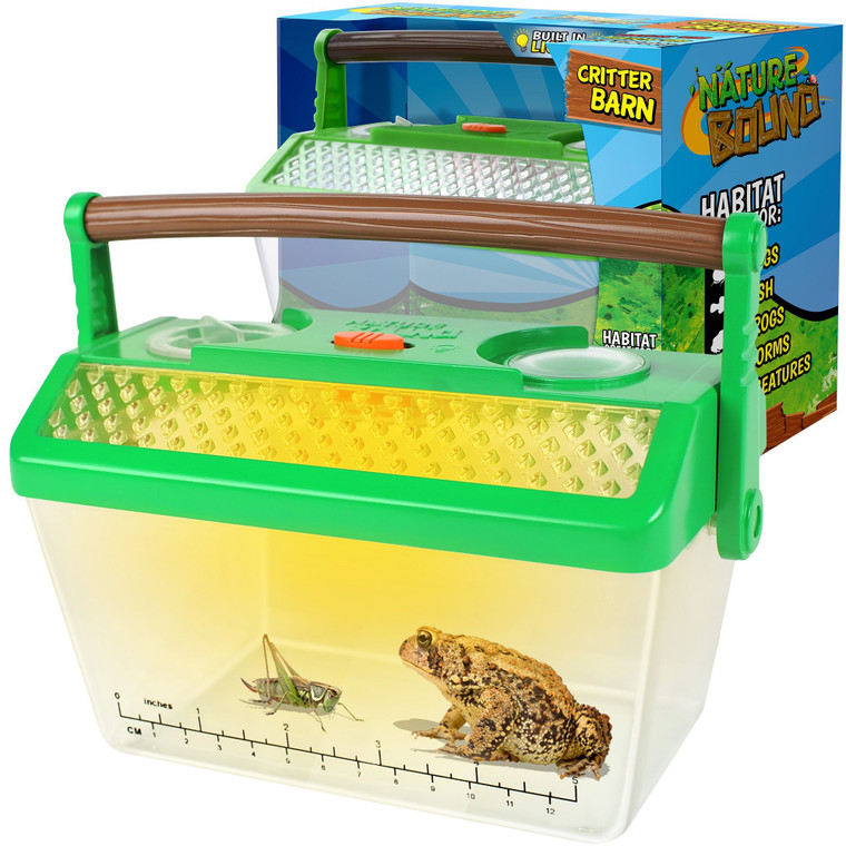 This critter habitat is great for bugs, reptiles, fish and frogs. Built in light for day and night use! It even holds water. Built in magnifiers make watching critters fun.