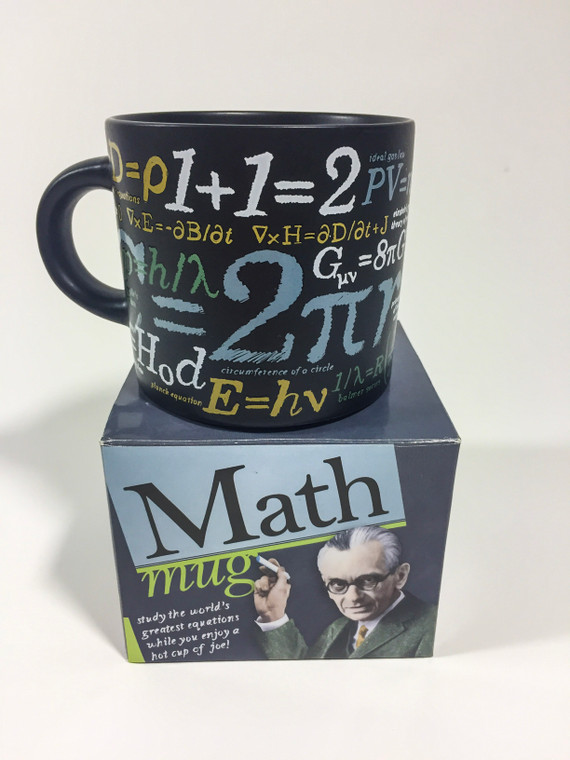This image shows a dark mug with famous equations, both simple and complex, in gold white, blue & green. Mug come in product box describing mug details.