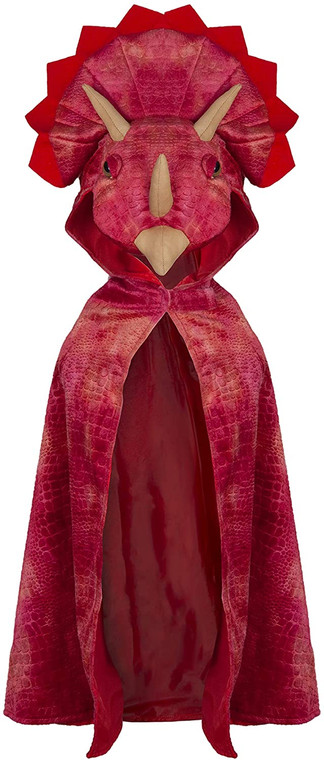 Triceratops hooded cape red