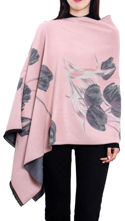 Pink / Gray Reversible Topper – Tulip Collection