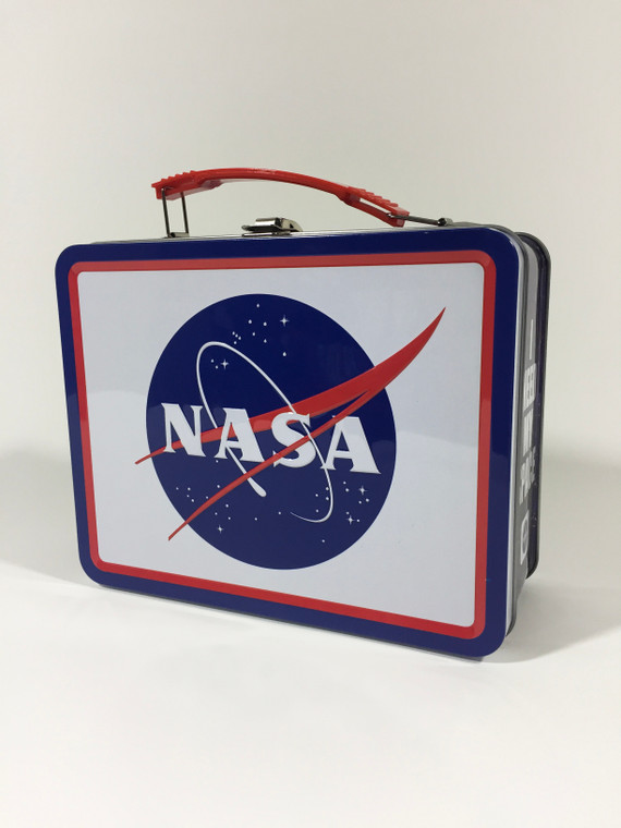 This image shows a nostalgic looking metal lunch box.  The large sides have a white background with the NASA logo.  The sides have a multi color galaxy background with the words I need my space.
