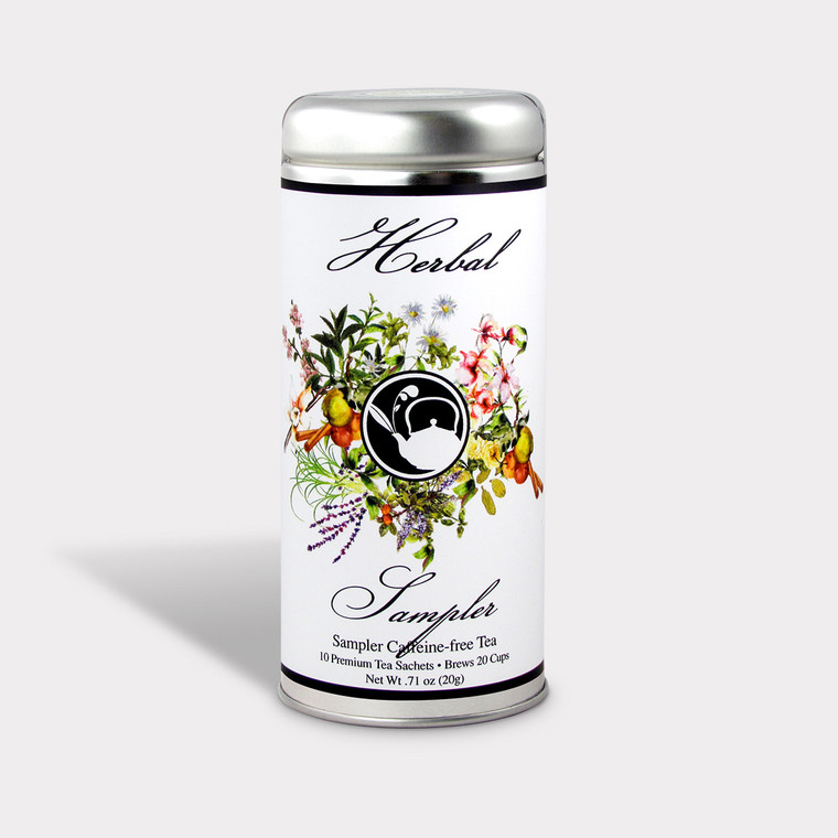 Herbal Tea Sampler tin contains 10 floral flavors. Each flavor is individually wrapped to keep the flavors separate for a fresh quality taste.