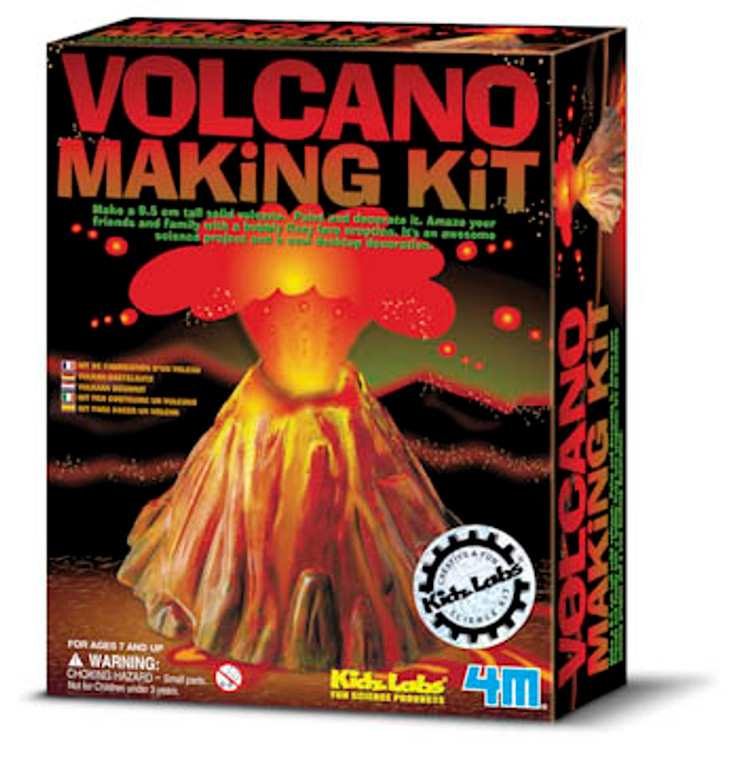 Make your own volcano and watch as it erupts with bubbling, fizzing lava!  This kit includes fast drying plaster, volcano mold, 6 colors of paint, paint brush and stir stick. Comes with molding and painting instructions, fun science facts and recipe for making the eruption.  Requires baking soda and vinegar for eruption - not included.