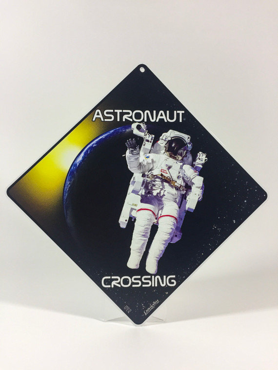 This image show a diamond shaped metal sign with a floating astronaut in the forefront.  Behind the astronaut is a planet, dark starry skies and some sunlight.