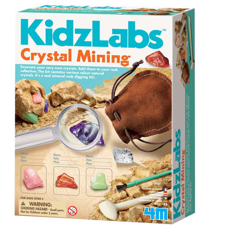Excavate, dig, study and display your very own natural crystals! Each kit includes a plaster block with eight natural crystals buried inside, digging tool and brush, magnifying glass, display cases with covers, a drawstring carrying pouch and detailed instructions with fun facts.  /!\ WARNING: CHOKING HAZARD—Small parts and small balls. Not for children under 3 yrs.