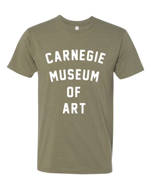 CMOA Logo'd Tee in Olive Green with White Lettering