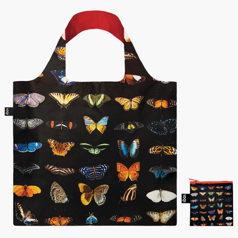 Black polyester tote with bright butterflies and moths, Photo Ark by photographer Joel Sartore specializes in documenting endangered species.