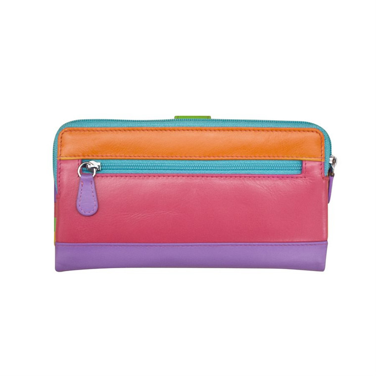 back image multi tone orange, purple and pink with a turquoise zipper closure.