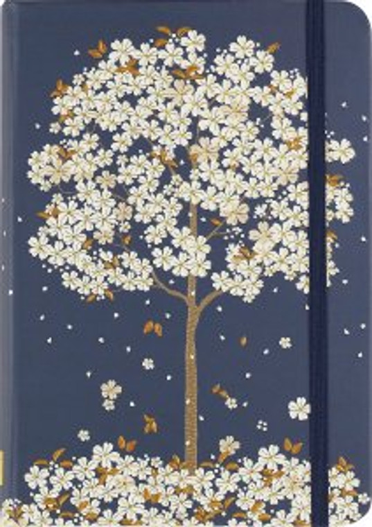 cover depicts a tree in bloom, its petals whirling through a deep blue sky.