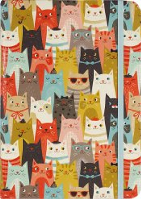Fun feline design in shades of blue, black, gray, butterscotch, and more.
