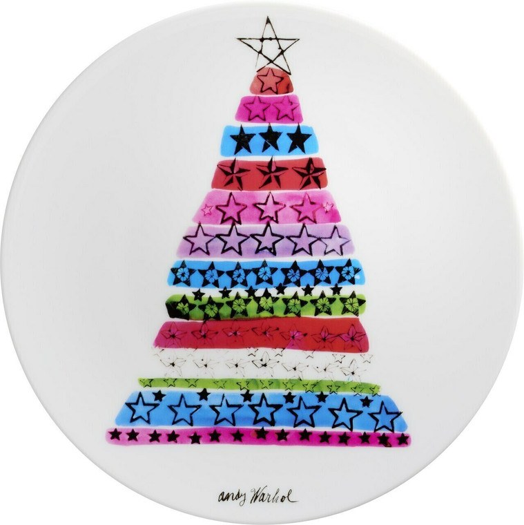 A plate with an image of a tree arranged from stack of color and various stamped stars