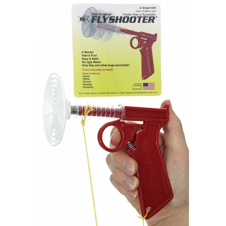 This all-plastic shooter comes in Red, Green or Blue and shoots about 3 feet on a yellow string.