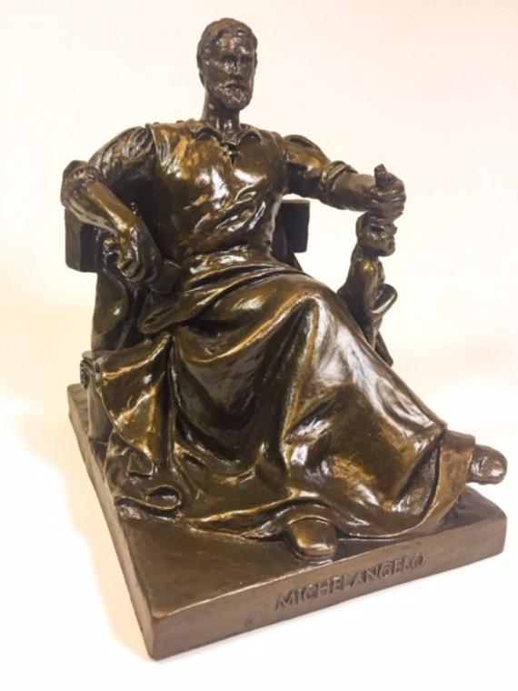 The Michelangelo statue, a bronze architectural sculpture was designed by John Massey Rhind.