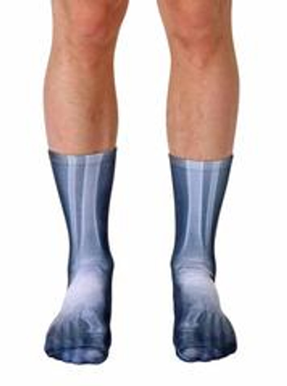 This image shows the X Ray crew socks with a black background and a X Ray image of leg and feet bones.