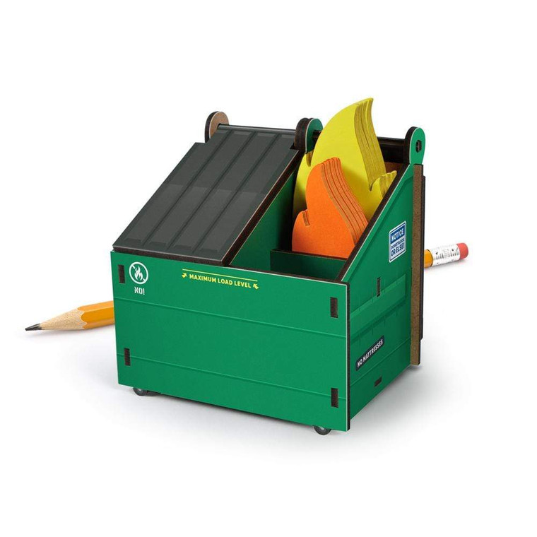 Image of a desk caddy for pens shaped like a dumpster on fire, with flame shaped notecards inside.