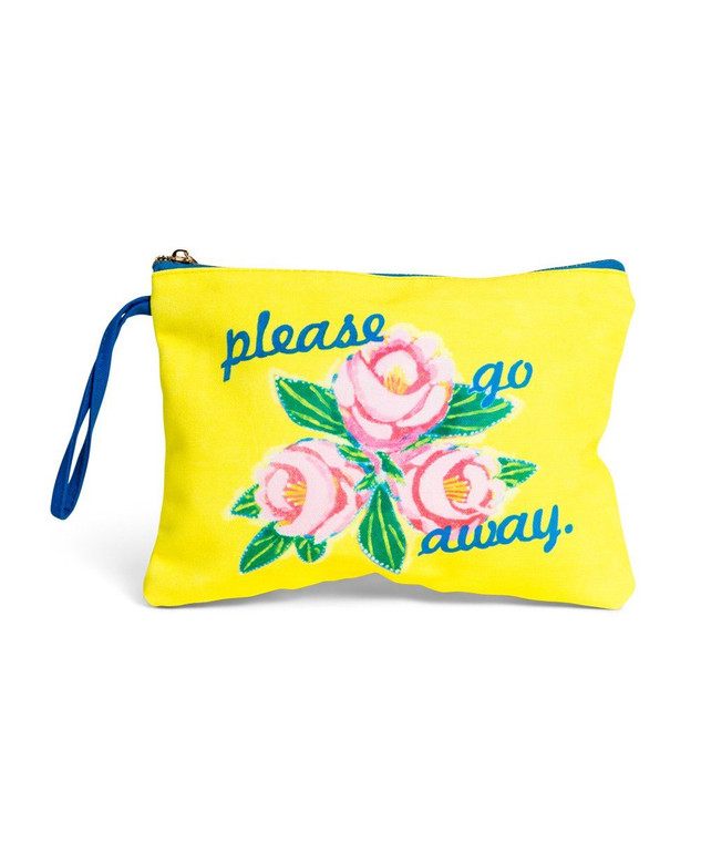 """An image of a yellow canvas clutch that reads """"please go away"""" in blue script and pink flowers with a blue zipper and strap."""