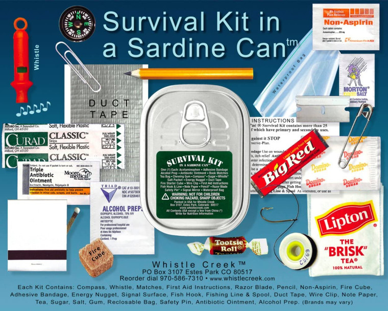 SURVIVAL KIT in a sardine can.