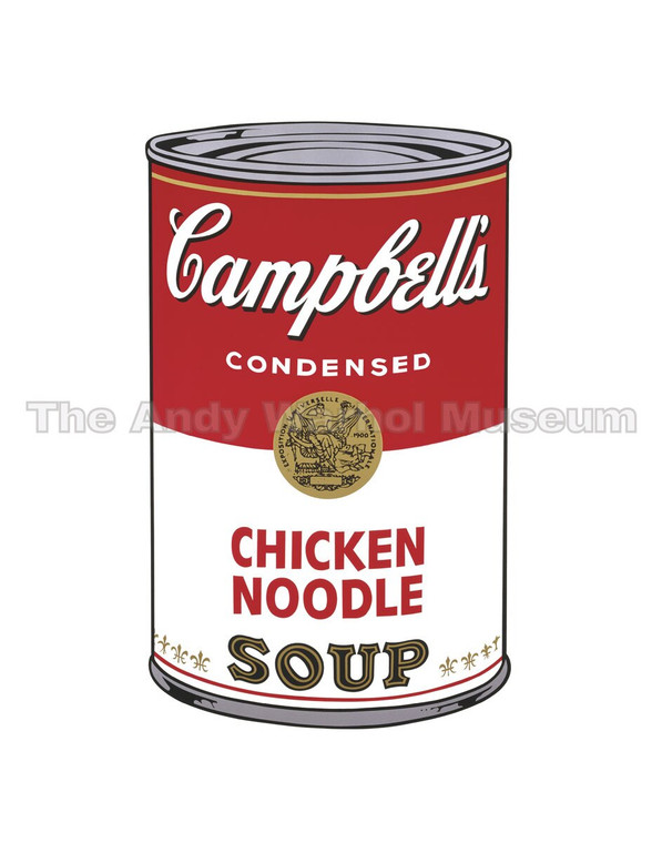 """A red and white can of """"Chicken Noodle"""" soup"""
