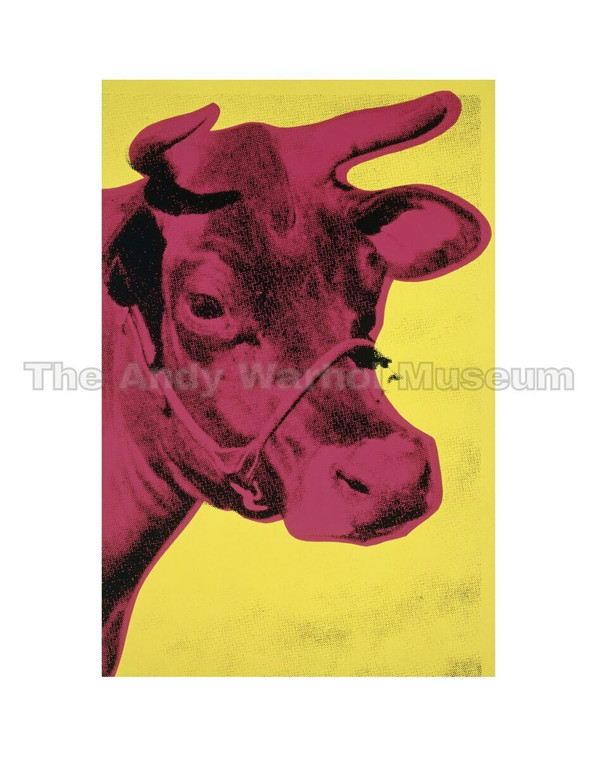 A hot pink cow's head on yellow background