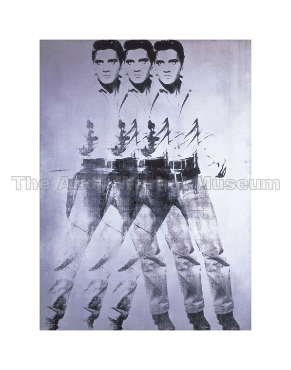 A painting of Elvis pointing a gun, superimposed three times over one another, in black and silver