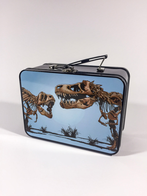 The front of the black metal lunch box features the T-Rex skeletons head to head decal.