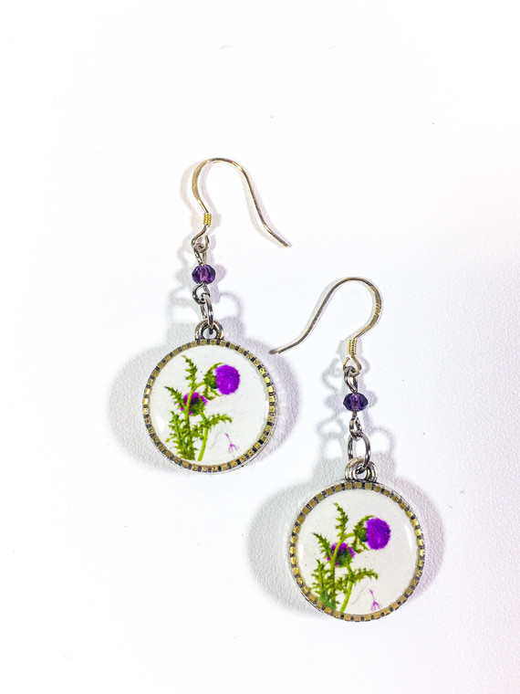 Earrings are sterling silver ear wire with natural gemstone, alloy charm with Thistle image.