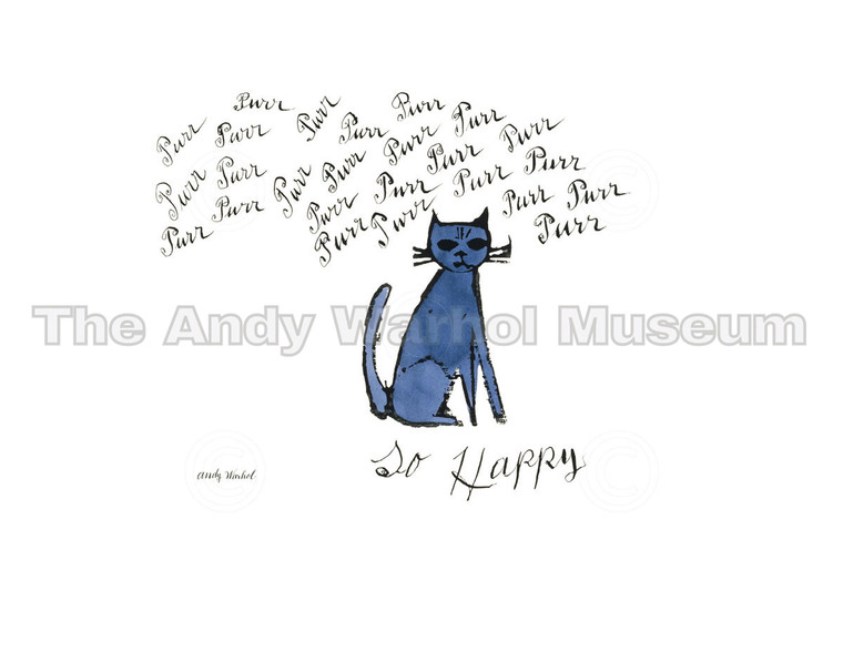 """A blue cat with """"purr"""" repeated many times above it, and """"so happy"""" beneath it"""""""