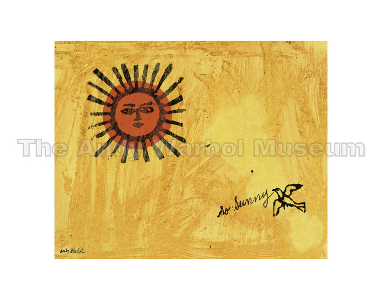 """A yellow sky with a red sun and a bird, and the words """"so sunny"""""""