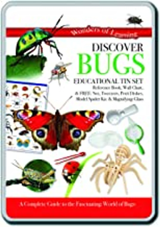 This image shows a tin box filled with educational pieces to discover bugs in nature.