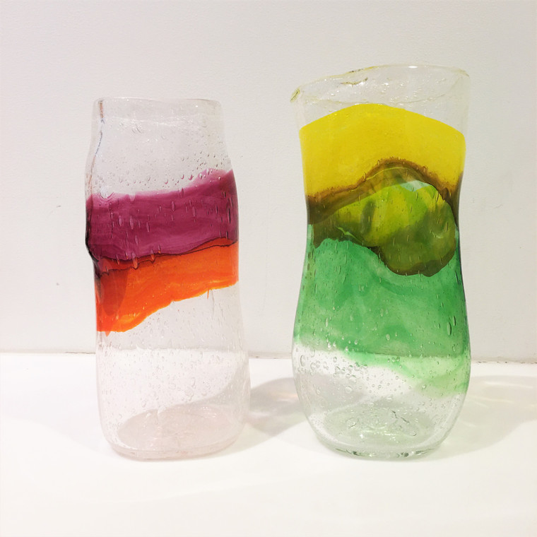 "12"" Handblown Watercolor Glass Vase"