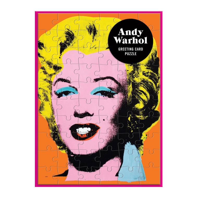 image of puzzle card with orange background and photo of Marilyn.
