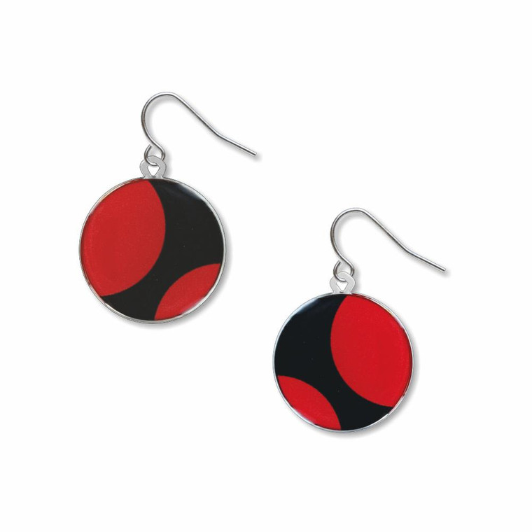 image of two round shaped earrings in red and black.