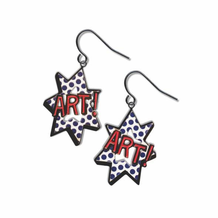 image of a pair of earrings with the word ART in red text.