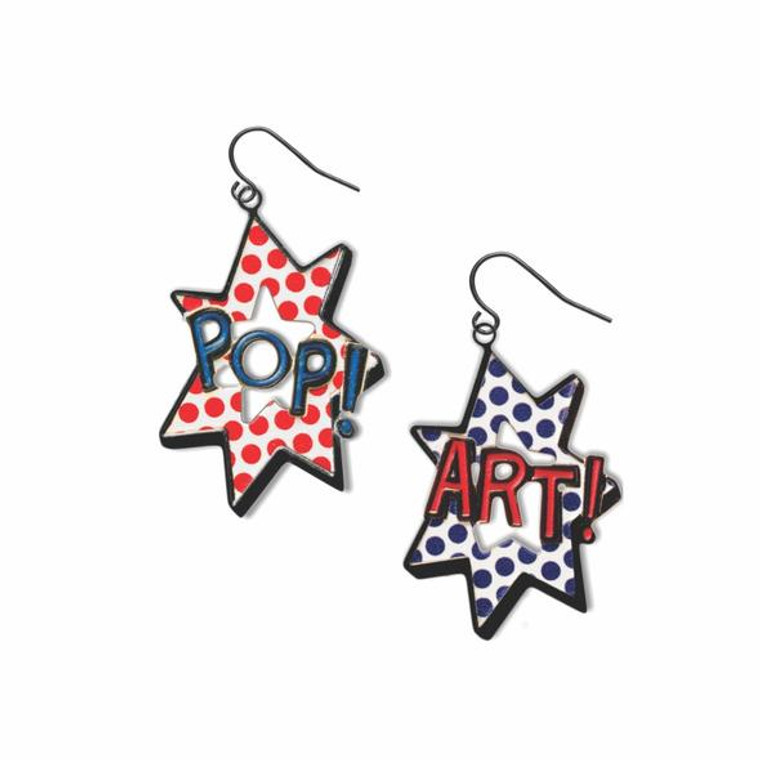 image of a pair of earrings with the words POP in blue and ART in red.