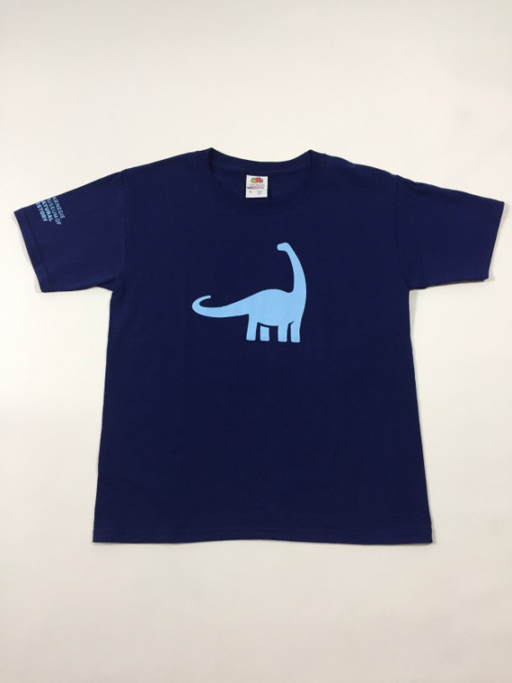 Youth navy blue  t-shirt with a full front light blue Dippy ( Diplodocus) with the Carnegie Museum of Natural History logo on the right sleeve.