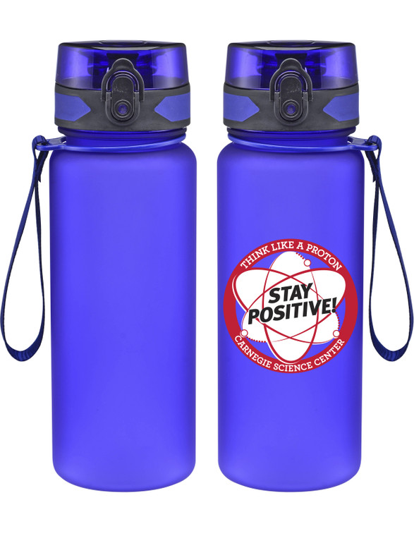This image shows a blue unbreakable bottle with the stay positive image in red & white