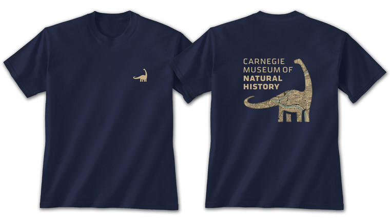 Unisex navy blue t-shirt with a small left chest tan dinosaur. The back features a full size Dippy (Diplodocus) with a silhouette map of Pittsburgh.