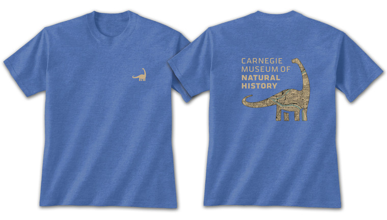Youth heather royal short sleeve t-shirt with a small dinosaur on the left chest. The back features a full size Dippy (Diplodocus) with a silhouette map of Pittsburgh.