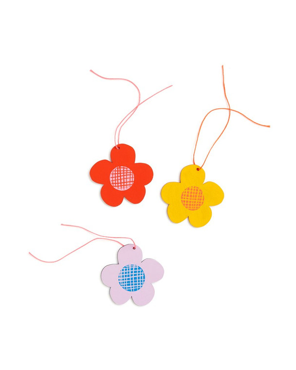 image of 3 hand painted colorful daisy ornaments with string.