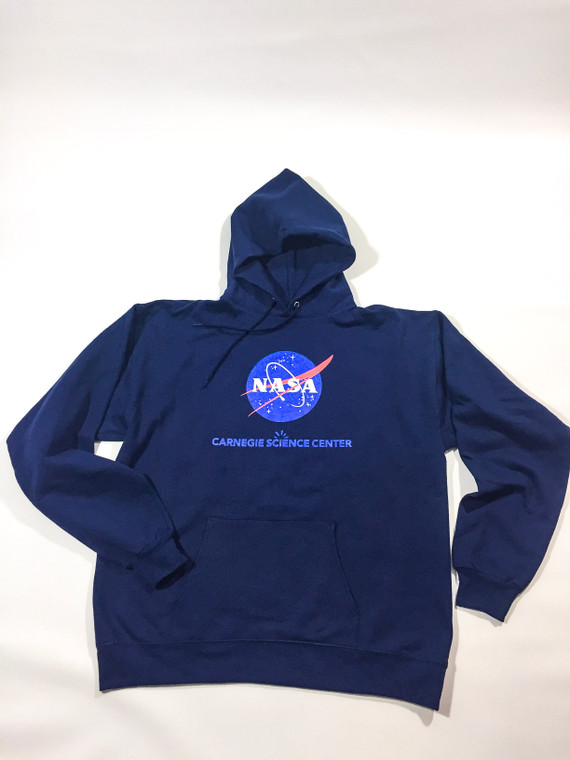 This image shows a navy blue hooded sweatshirt with the NASA logo on the chest and below the Carnegie Science Center logo.