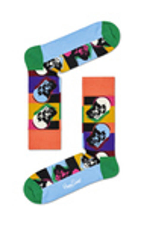 A pair of multicolor striped socks with black and white skulls